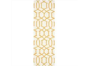 Safavieh DHU753C-28 2 ft. - 6 in. x 8 ft. Runner, Contemporary Dhurries Ivory And Yellow Flatweave Rug