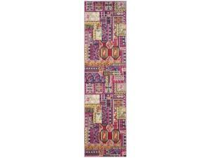 Safavieh MNC212D-28 Monaco Power Loomed Rectangle Rug, Pink - Multi, 2 ft. 2 in. x 8 ft.