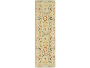 Safavieh HG734A-220 2 ft. - 3 in. x 20 ft. Runner, Traditional Heritage Light Blue And Ivory Hand Tufted Rug