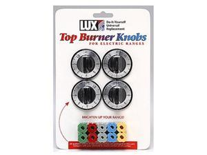 Lux Products CPR404 Electric Top Burner Knobs, Black, 4 Pack