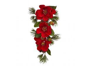 Nearly Natural 4870 26 in. Red Magnolia & Pine Tear Drop