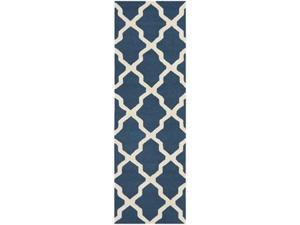 Safavieh CAM121G-220 2 ft.-6 in. x 20 ft. Runner Transitional Cambridge, Navy Blue and Ivory Hand Tufted Rug