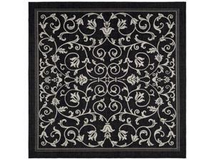 Safavieh CY2098-3908-7SQ 6 Ft. - 7 In. x 6 Ft. - 7 In. Square, Indoor - Outdoor Courtyard Black And Sand Machine Made Rug