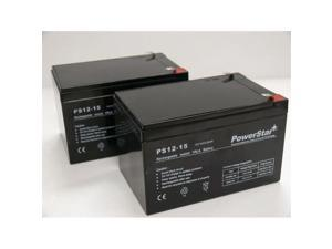 PowerStar PS12-15-2Pack17 2 Pack 12V 15Ah F2 Battery For Ezip Scooter 750, 900, 1000