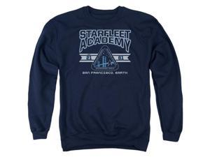 Trevco Star Trek-Starfleet Asademy Earth - Adult Crew Sweat Tee - Navy, 2X