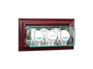 Perfect Cases WMTRPB-C Wall Mounted Triple Baseball Display Case, Cherry