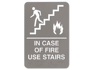 U. S. Stamp & Sign 5400 6 x 9 ADA Sign In Case Of Fire Use Stairs, Gray