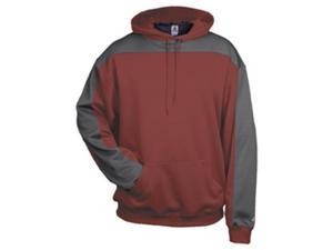 Badger 1466 Performance Polyester Defender Hoodie, Maroon and Graphite, Extra Large