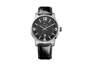 Hilfiger 1710342 Mens Stainless Steel Case Black Leather Strap Black Dial Watch