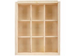 Multicraft Imports WS288 Wood Craft Natural DIY 9 - Window Keepsake Box - 4.75 x 5.75 in.