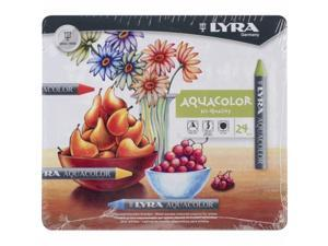 Dixon 5611240 Lyra Aquacolor Water-Soluble Crayons 24/Pkg-Assorted Colors