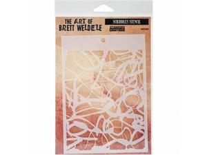 Stampers Anonymous BWS-5 Brett Weldele Stencil Collection 6.5 x 4.5 in. - Scribbles