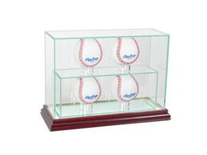 Perfect Cases 4UPBSB-C 4 Upright Baseball Display Case, Cherry