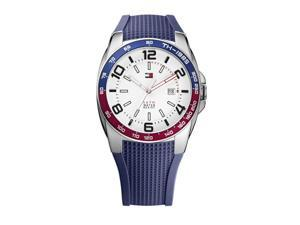 Tommy Hilfiger 1790885 Mens Stainless Steel Case Blue Silicone Strap Watch With White Dial