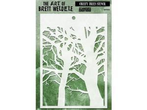 Stampers Anonymous BWS-4 Brett Weldele Stencil Collection 6.5 x 4.5 in. - Creepy Trees