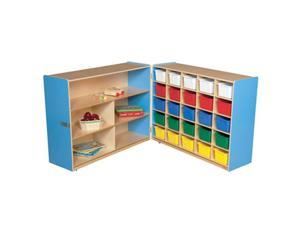 Wood Designs 23633B Shelf Fold Storage With 25 Assorted Trays, Blueberry