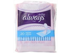 Always 20 Count Unscented Pantiliners Thin Liners, Pack Of 24