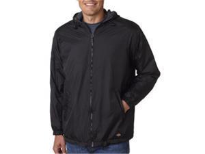 Dickies 33237 Adult Fleece-Lined Ripstop Nylon Jacket, Black, Extra Large