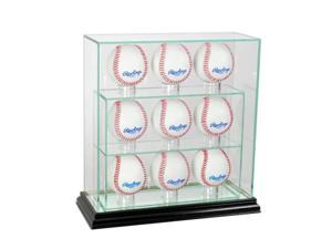 Perfect Cases 9UPBSB-B 9 Upright Baseball Display Case, Black
