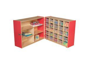 Wood Designs 23631R Shelf Fold Storage With 25 Translucent Trays, Strawberry Red
