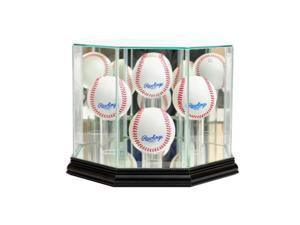 Perfect Cases 4BSB-B Octagon 4 Baseball Display Case, Black