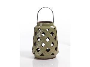 Zodax NCX-2424 Luminaire Ceramic Lantern With Metal Handle, Green