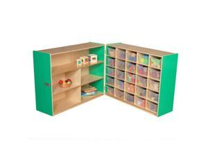 Wood Designs 23631G Shelf Fold Storage With 25 Translucent Trays, Green Apple