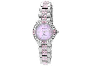 Armitron 75-3689PMSV Womens Pink Dial Watch With Pink And White Crystals Around Bezel, Silvertone bracelet