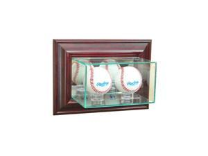 Perfect Cases WMDBBS-C Wall Mounted Double Baseball Display Case, Cherry