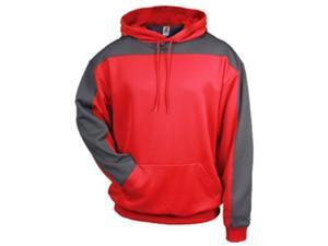 Badger 1466 Performance Polyester Defender Hoodie, Red and Graphite, Small