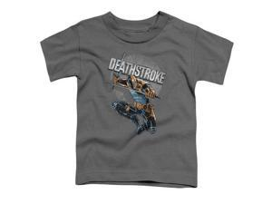 Trevco Jla-Deathstroke Retro Short Sleeve Toddler Tee, Charcoal - Medium 3T