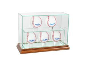 Perfect Cases 5UPBSB-W 5 Upright Baseball Display Case, Walnut