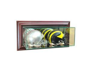 Perfect Cases WMDBMH-C Wall Mounted Double Mini Helmet Display Case, Cherry