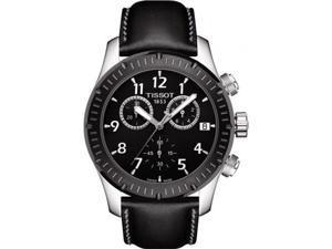 T0394172605700 Tissot V8 Chronograph Leather Mens Watch - Black