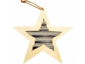 Darice 91-0044S Unfinished Wood Shape With Corrugated Metal - Star