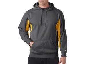 Badger 1465 Drive Polyester Fleece Hooded Pullover, Graphite and Gold, Medium