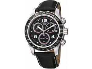 T0394171605702 Tissot V8 Leather Chronograph Mens Watch - Black Dial