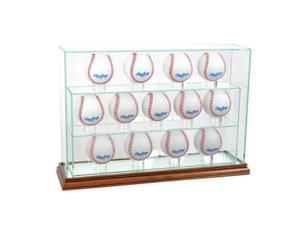 Perfect Cases 13UPBSB-W 13 Baseball Upright Display Case, Walnut