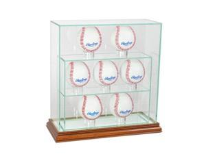 Perfect Cases 7UPBSB-W 7 Upright Baseball Display Case, Walnut