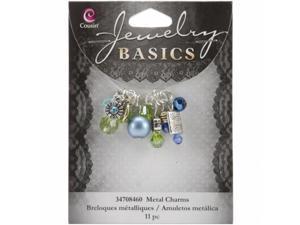 Cousin JBCHARM-8460 Jewelry Basics Metal Charms-Aqua Glass and Metal Bead Cluster 11/Pkg