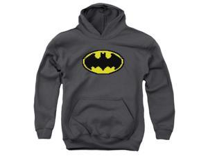 Trevco Batman-Pixel Symbol - Youth Pull-Over Hoodie - Charcoal, Small