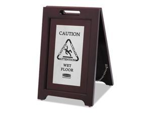 Rubbermaid Commercial 1867508 Executive 2-Sided Multi-Lingual Caution Sign, Brown