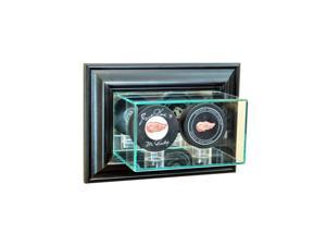 Perfect Cases WMDBPK-B Wall Mounted Double Puck Display Case, Black