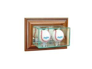 Perfect Cases WMDBBS-W Wall Mounted Double Baseball Display Case, Walnut