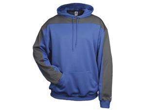 Badger 1466 Performance Polyester Defender Hoodie, Royal and Graphite, 3XL