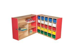 Wood Designs 23633R Shelf Fold Storage With 25 Assorted Trays, Strawberry Red