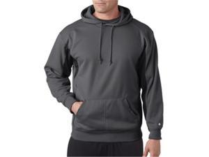 Badger 1465 Drive Polyester Fleece Hooded Pullover, Graphite and Black, Medium