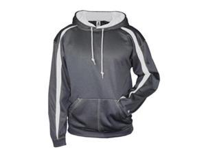 Badger 1467 Fusion Colorblock Polyester Fleece Hooded Pullover, Carbon and White, Small