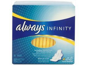 Always 18 Count Infinity Unscented Pads With Wings, Regular Flow - Pack Of 12