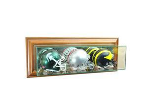 Perfect Cases WMTRPMH-W Wall Mounted Triple Mini Football Display Case, Walnut